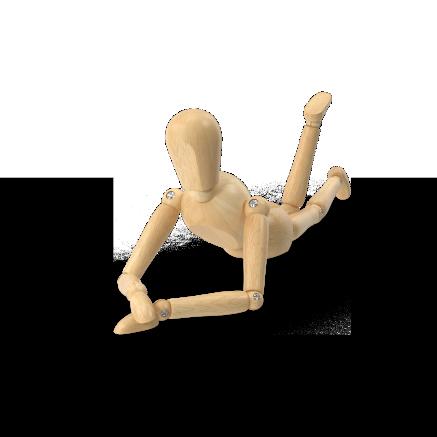 Maniquí en postura rehabilitación